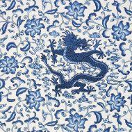 Scalamandre: Chi'en Dragon Linen Print SC 0004 16558 Indigo