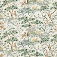 Scalamandre: Kelmescott  Hand Block Print SC 0002 16590 Leaf on Ivory