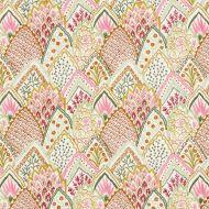 Schumacher: Albizia Embroidery 76312 Pink & Leaf