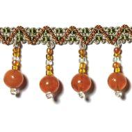 """Highland Court: Sherman Oaks Trimmings 1 3/4"""" Fringe Glass Beaded Tangerine 78088H-35"""