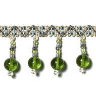 "Highland Court: Sherman Oaks Trimmings 1 3/4"" Fringe Glass Beaded Emerald 78088H-58"