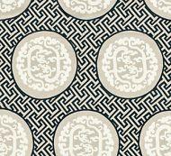 Scalamandre: Dragon's Fret Embroidery SC 0001 27215 Black & Tan