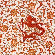 Scalamandre: Chi'en Dragon Linen Print 16558-003 Persimmon