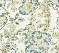 Scalamandre: Cumbria Hand Block Print 16603-001 Aquamarine on Ivory