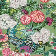 Schumacher: Chiang Mai Dragon Wallcovering 5001067 Jade