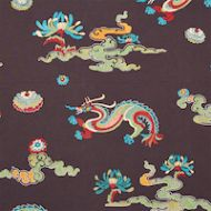 Schumacher: Hanlun Dragon Embroidery 78113 Charcoal