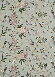 GP&J Baker: Oriental Bird Embroidery Silk BF10418.2.0 Aqua/Multi