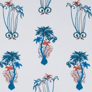 Clarke & Clarke: JUNGLE PALMS PRINT F1110-1 BLUE