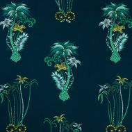 Clarke & Clarke: JUNGLE PALMS PRINT F1110-3 NAVYN