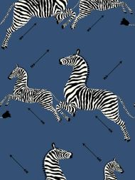 Scalamandre: Zebras Vinyl Wallpaper SC 0008 WP81388MV Denim