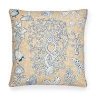 "Schumacher: Animalia 22"" Pillow SO17832006 Blue & Natural"